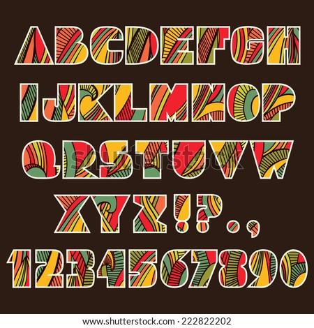 Festive Alphabet Set Abc Letters Numbers Stock Vector 222822202 ...