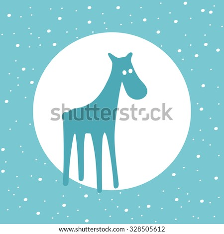 Festive and Christmas greeting card with female deer - stock vector