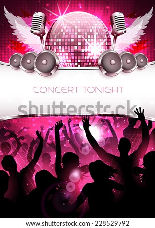 Festive and shiny party disco background with silhouette - Vector - stock vector