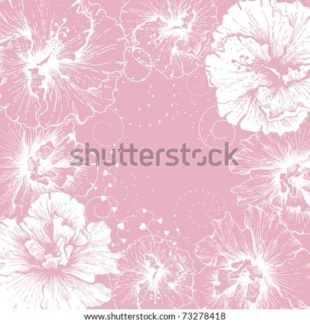 Festive background with blooming hibiscus