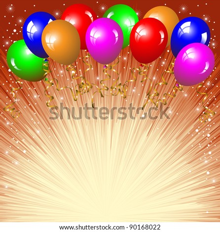 Festive background with colorful balloons - stock vector