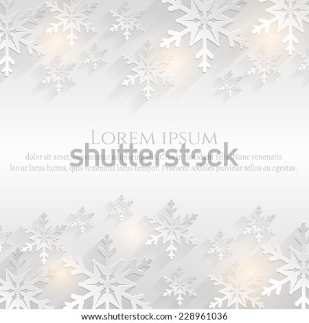 Festive background with flat snowflakes and space for text. Winter card. Vector illustration.