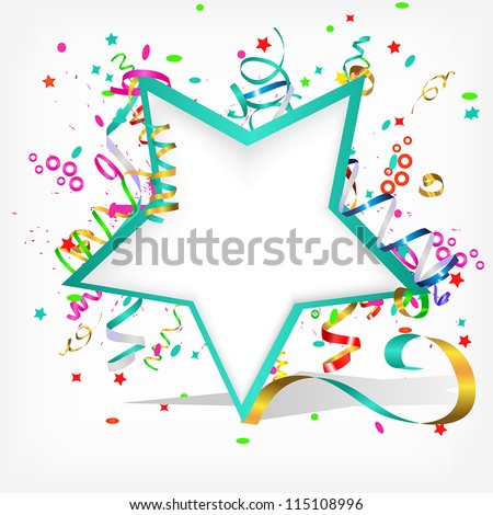 festive background with stars and streamer - stock vector