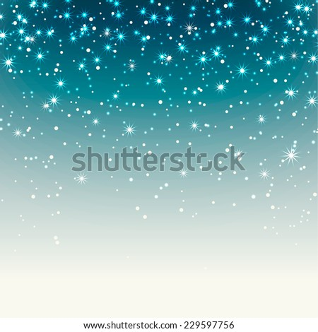 Festive background with stars, sparkles and snow, vector illustration - stock vector