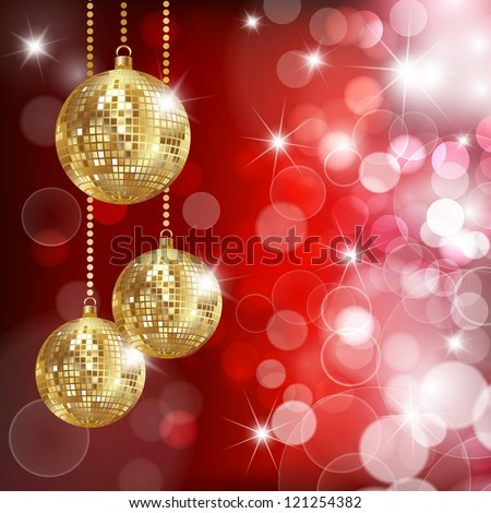 Festive background with three disco balls and glares. Vector - stock vector