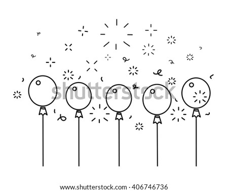 Festive balloons background, line style vector illustration - stock vector