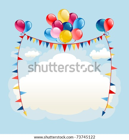 Festive balloons background with space for text - stock vector