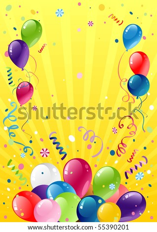 Festive balloons with space for text - stock vector