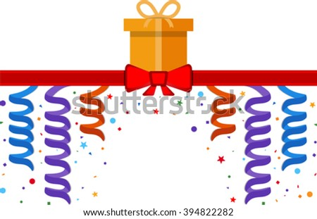 Festive banner with gift box and red ribbon. Eps 10 - stock vector