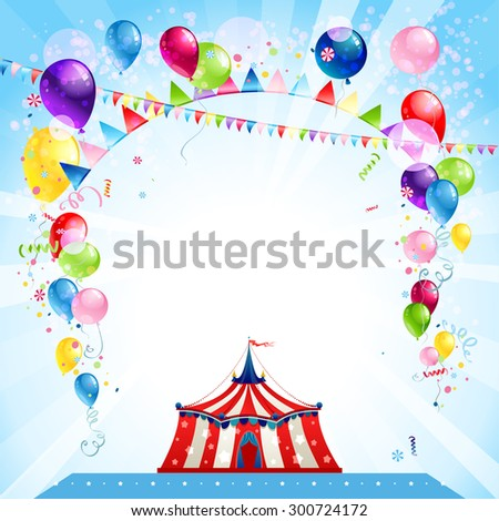 Festive bright card with tent. Entertainment poster for advertisement. Place for text. - stock vector