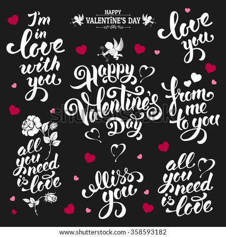 Festive Calligraphic Hand Drawn Greeting Lettering Text Set for Valentines Day. Vector illustration. - stock vector