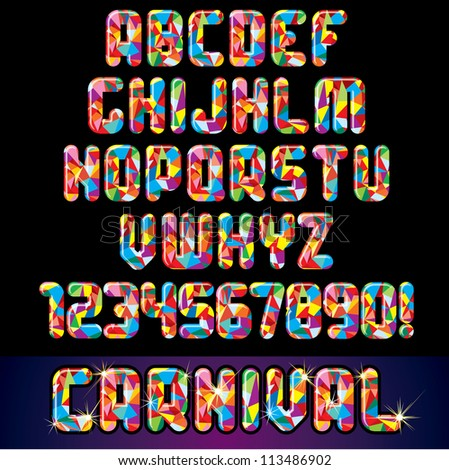 Festive Carnival Font. Multicolored Vector Alphabet with Numbers - stock vector