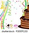 Festive Chocolate Cake - stock vector