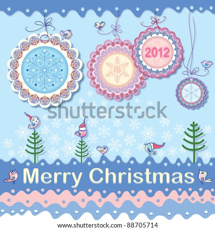 Festive Christmas background on the subject. New medals - Christmas decorations. Winter birds are like little Santa. - stock vector