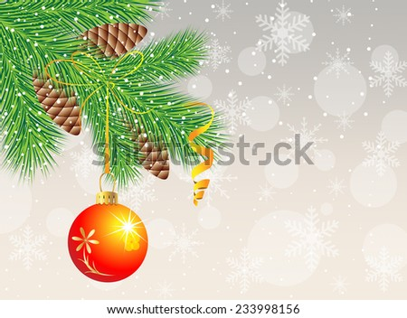 festive christmas background with ball,  vector  illustration