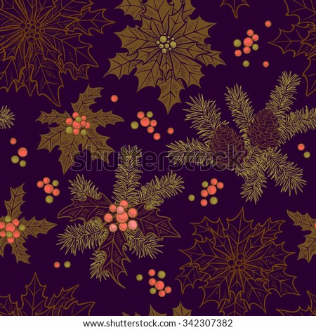 Festive Christmas background with Christmas flower with leaves, berries and cones for decoration and printing - stock vector