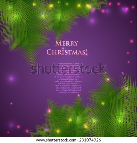 Festive Christmas card with branches of spruce. Vector illustration - stock vector