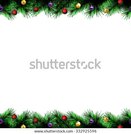 festive Christmas tree. vector.  seamless border.  - stock vector