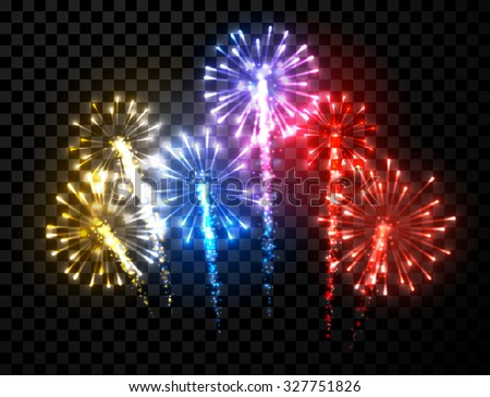 Festive color firework background. Vector illustration. - stock vector