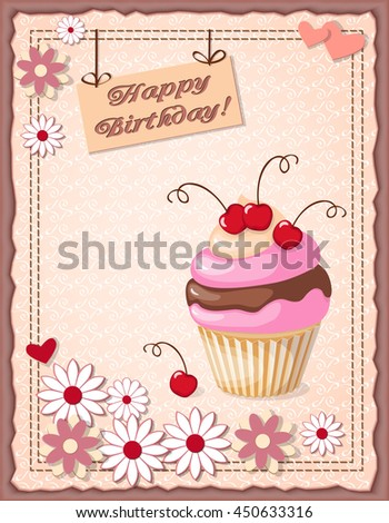 Festive Colorful Scrapbooking Card Text Happy Stock Illustration