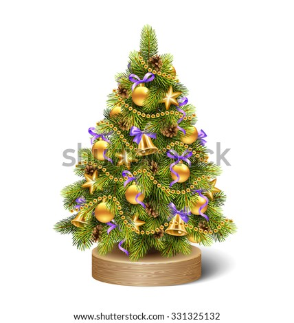 Festive Decoration Christmas Tree Pine On Wooden Stand Isolated on White Background - stock vector