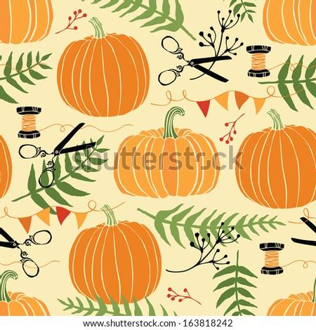 Festive decoration, pumpkins and ferns - stock vector
