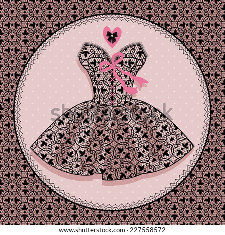 festive dress with lace. dress for dancing - stock vector