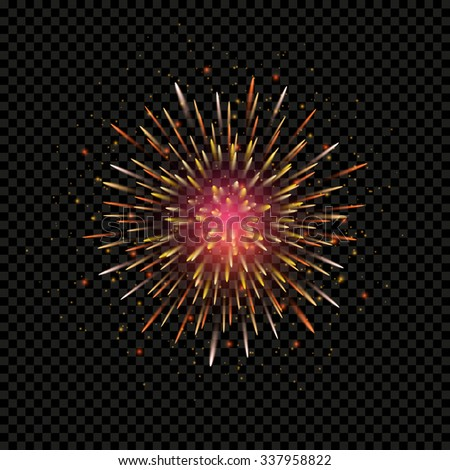 Festive firework bursting circle shape sparkling pictogram against black background, vector isolated illustration - stock vector