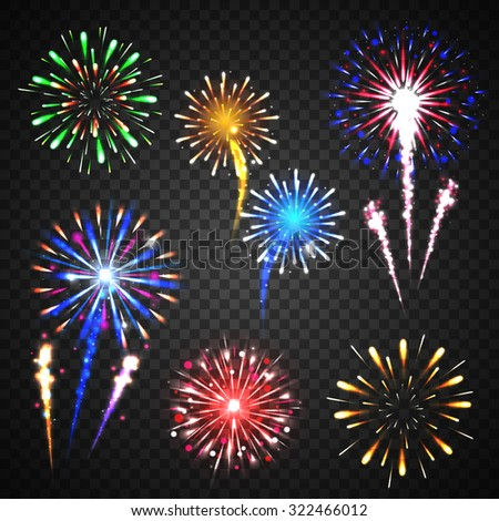 Festive fireworks collection of different colors and shapes isolated  on transparent background. vector illustration. - stock vector
