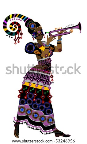 Woman Ethnic Clothes Dancing Dancing Flowers Stock Vector 43659301 ...