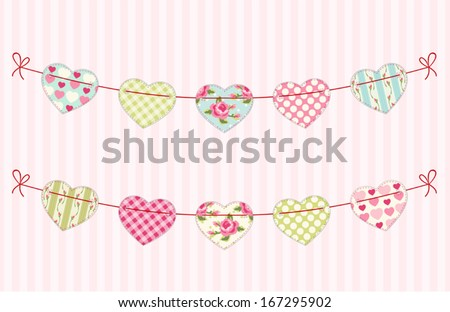 Festive garland for valentines day with fabric handmade hearts of different ornaments in shabby chic style  - stock vector