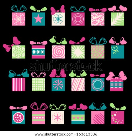 Festive gifts and bows. 24 various graphic box for your design isolated on black background. Gifts and background are on separate layers. EPS 8. - stock vector