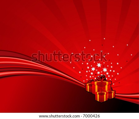festive gifts on red abstract swoosh background. Vector illustration.