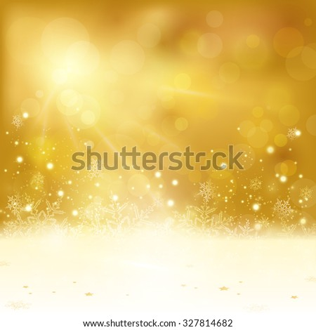 Festive golden Christmas background with stars snowflakes, and copy space. Out of focus light dots and light effects with light from above give it a festive and dreamy feeling. - stock vector