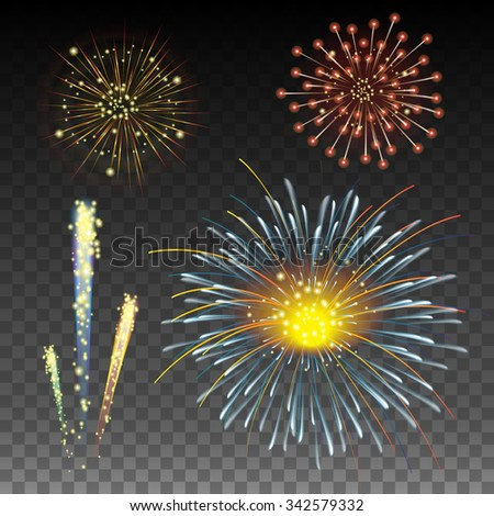 Festive Golden Firework on Transparent Background - stock vector