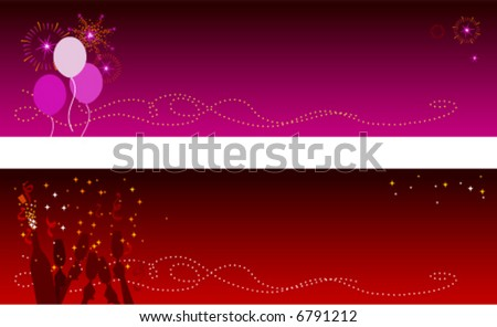 Festive Holidays & New Year Banners with copyspace- Fireworks with balloons & champagne with confetti. JPG version also available in my portfolio - stock vector