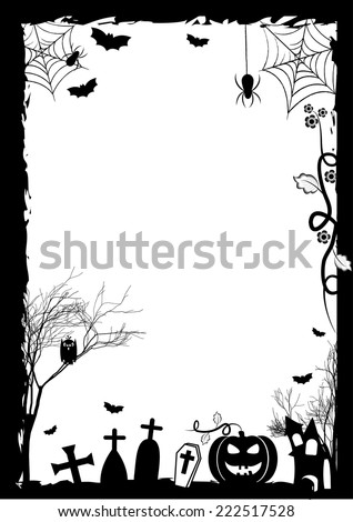 Festive illustration on theme of Halloween. Wishes for Happy Halloween. Trick or treat. Black and white border with place for text. Vector illustration