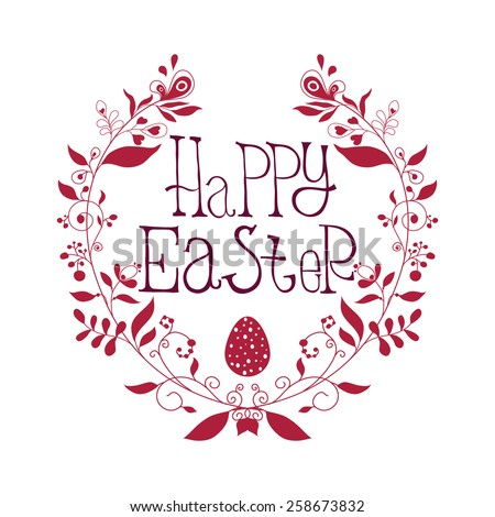 Festive leaflet Happy Easter with decorative elements, swirls, quotes.  Postcard, poster - stock vector