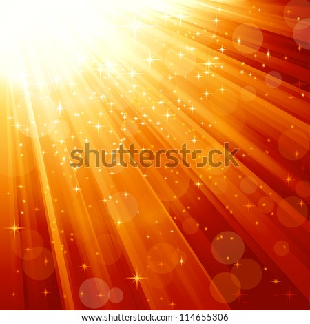 Festive light ray background in reds and gold. Stars and blurry light dots give it a festive and magical feeling. Perfect for the Christmas season. - stock vector