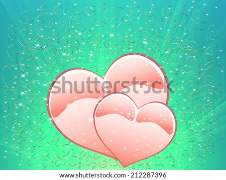 Festive love illustration with hearts on Valentine's Day - stock vector