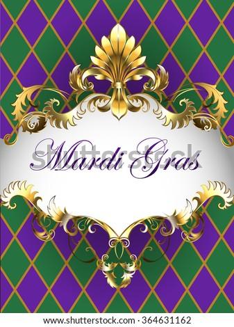 Festive Mardi Gras Banner Decorated Frame Stock Vector 364631162 ...