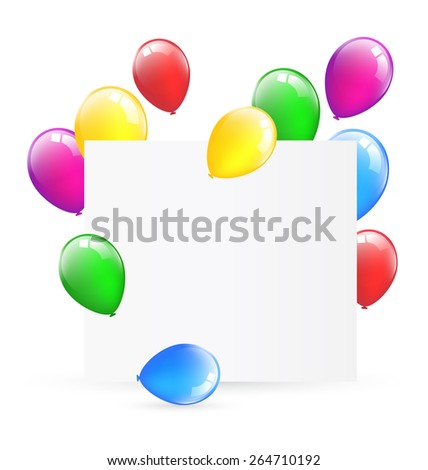 Festive paper frame with inflatable bright air balls isolated on white background - stock vector