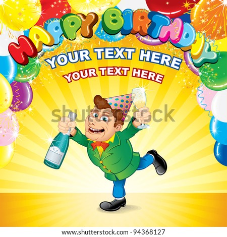 Festive Party Background with Happiness Man, Balloons, Confetti and Space for your Greeting Text - stock vector