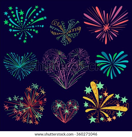 Festive patterned firework in the shape of a heart.  - stock vector