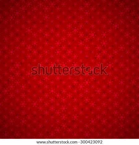 Festive red background with seamless pattern with snowflakes, and with light vignette  - stock vector