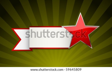 Festive red star with ribbon - stock vector