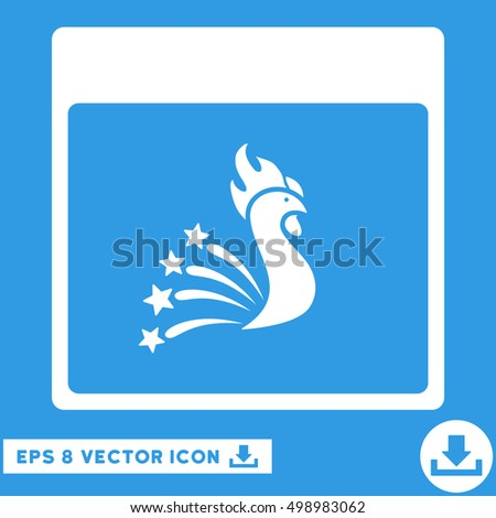 Festive Rooster Calendar Page icon. Vector EPS illustration style is flat iconic symbol, white color.