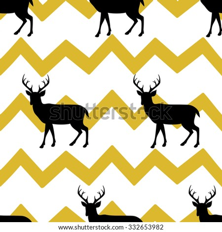 Festive seamless background with deers - stock vector