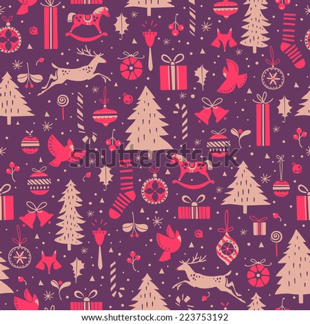 Festive seamless pattern for Christmas and New Year events - stock vector