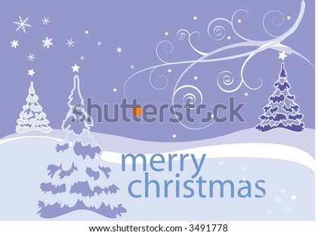 Festive, snowy landscape scene with copy area for seasons' greeting in vector format. - stock vector